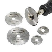 """6 adet Mini dairesel testere bıçağı seti yüksek hızlı çelik kesme diski 1/8 """"shank Dremel döner aracı aksesuarları için ahşap alüminyum kesim"""