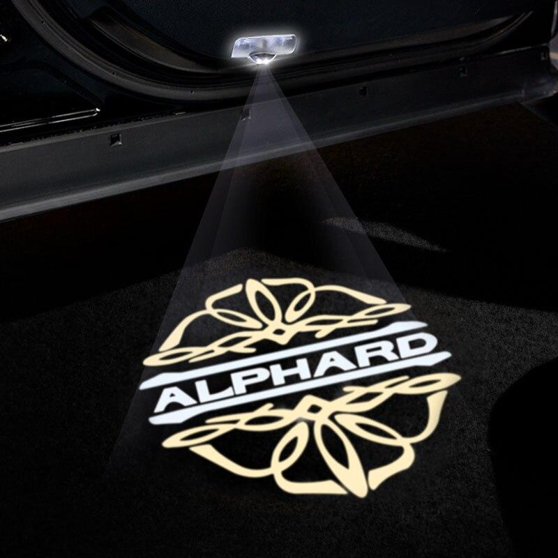 2 шт. Welocme светильник для Toyota Alphard/Vellfire лампа-проектор логотипа для Toyota Alphard/Vellfire стайлинга автомобилей Vellfire светодиодный дверной светильник ...