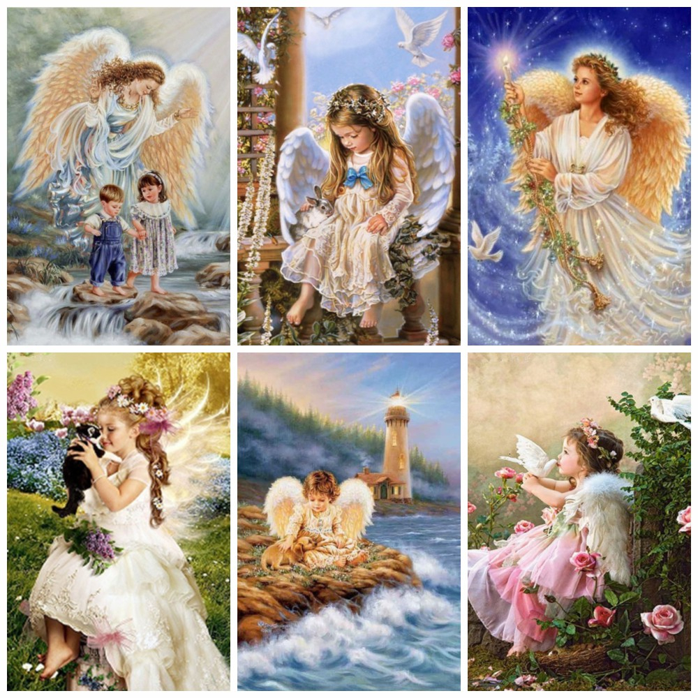 HUACAN Full Square Drill Diamond Painting Religion Diamond Embroidery Angle Girl DIY Fall Decoration For Home