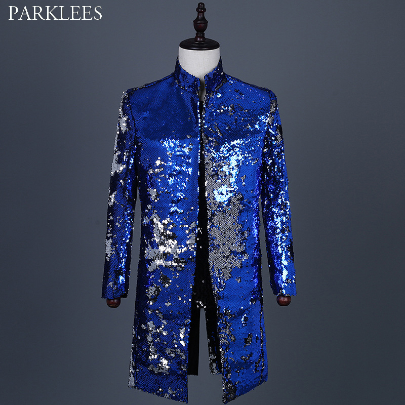 Royal Blue Sparkle Sequin Long Blazer Jacket Men 2019 New  Mandarin Collar Tuxedo Suit Jacket Male Party Show Prom Costume Homme