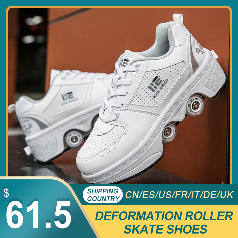 Portable Deformation Roller Skate Shoes Parkour Roller Shoes Sneakers With Four Wheels Running Shoes For Unisex Children Shoes