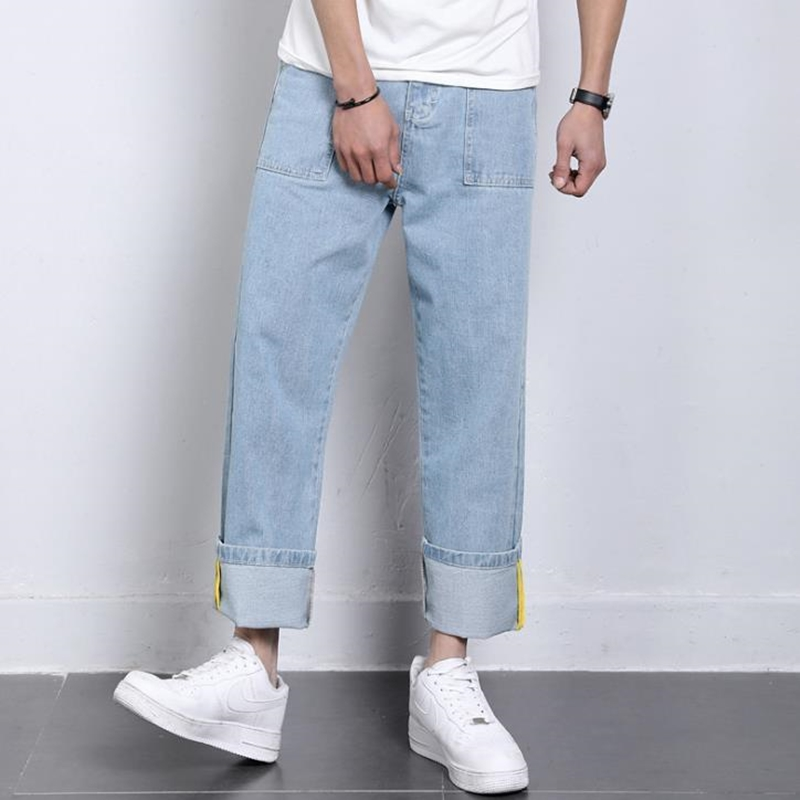 Jeans Men 2019 New Casual Loose Straight Wide Leg Pants Wild Youth Literary Trousers Solid Color