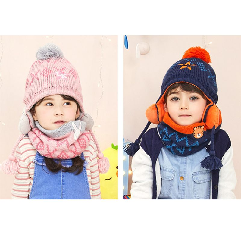 Toddler Boys Girls Winter Cartoon Knitted Padded Earflap Beanie Cap Collar Scarf Tiger Rabbit Embroidery 2 Pieces Set