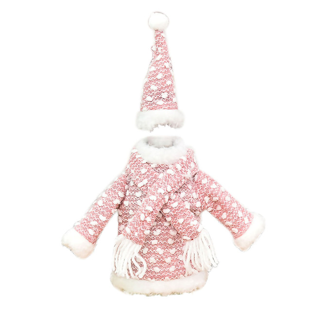 Christmas home decorations Christmas Decorations Mini Cute Knitted Fabric Dress Suit Wine Bottle Cover boże narodzenie navidad 2