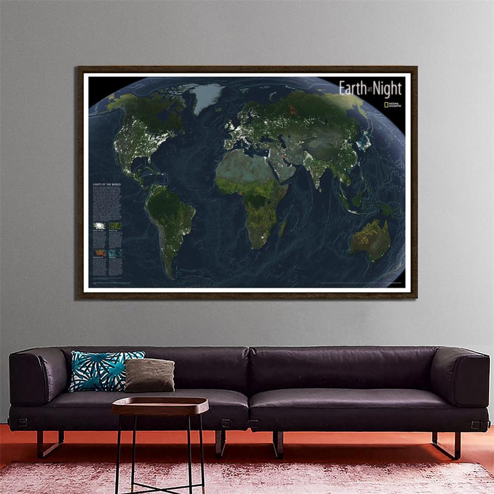 Earth At Night Satellite Imagery National Geographic World Map For Education And Culture 150x100cm