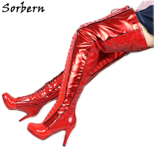 Sorbern Custom Red Kinky Boots Over The Knee Boots According To Pictures Lace Up Thigh High Platform Shoe Size Us5-15 cheap Patent Leather Over-the-Knee Cross-tied patchwork Adult Thin Heels Basic Round Toe Spring Autumn Rubber Super High (8cm-up)
