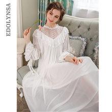 Vestido de novia victoriano para mujer, ropa de dormir de otoño, camisón de manga larga de encaje rosa, Camisón de algodón blanco, mujer T313