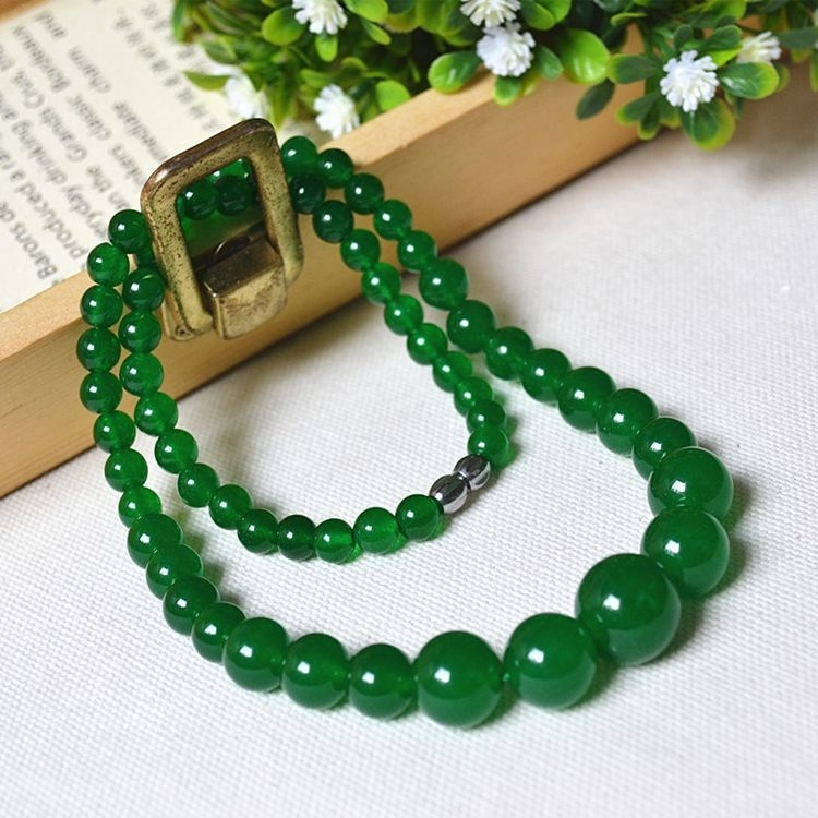 Natural Green Agate Necklace Green Chalcedony Boutique Necklace Tower Women
