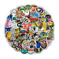 50 PCs Cool Random Stickers for Laptop Luggage Water Bottle Car Bike Motorcycle Kids Graffiti Vinyl Sticker Bomb JDM Decals