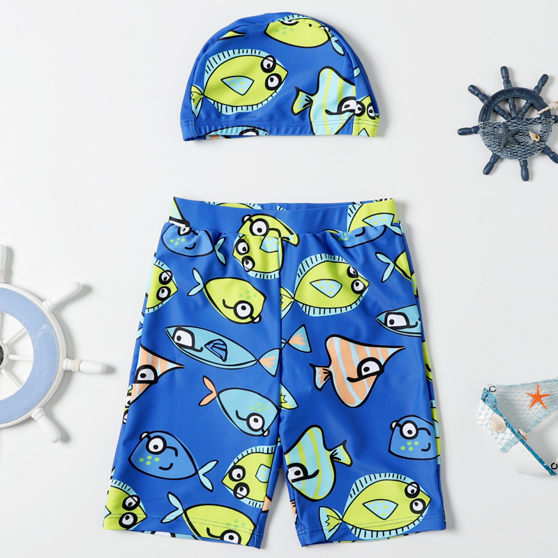 Boy KID'S Swimwear Large Children Baby Swimming Trunks Cute Cartoon Boxer Beach Shorts With Swim Cap Set Swimwear