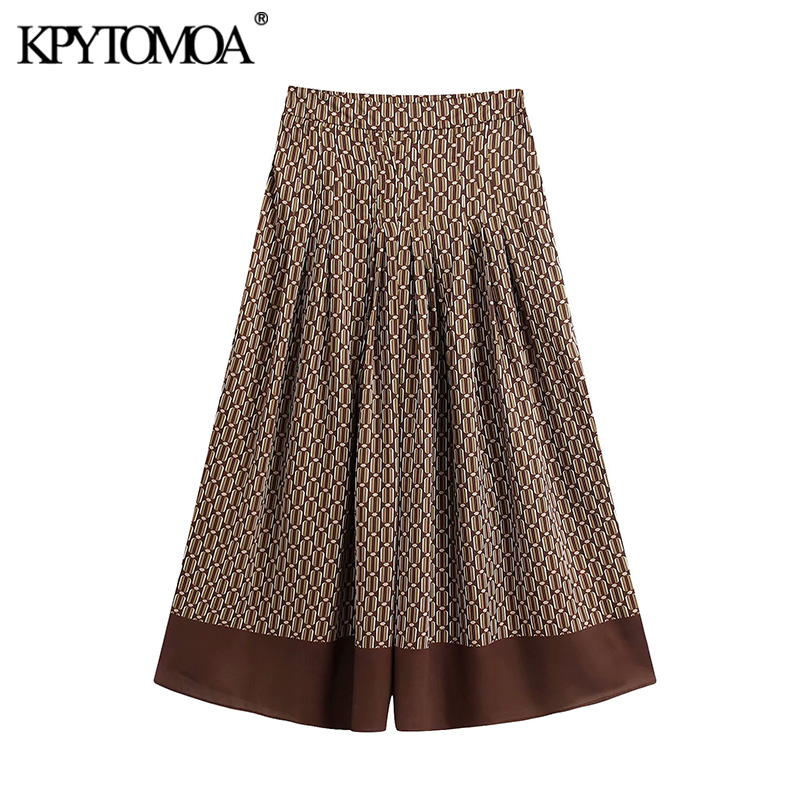 KPYTOMOA Women 2020 Chic Fashion Chain Print Pleated Wide Leg Pants Vintage High Waist Side Zipper Female Ankle Trousers Mujer