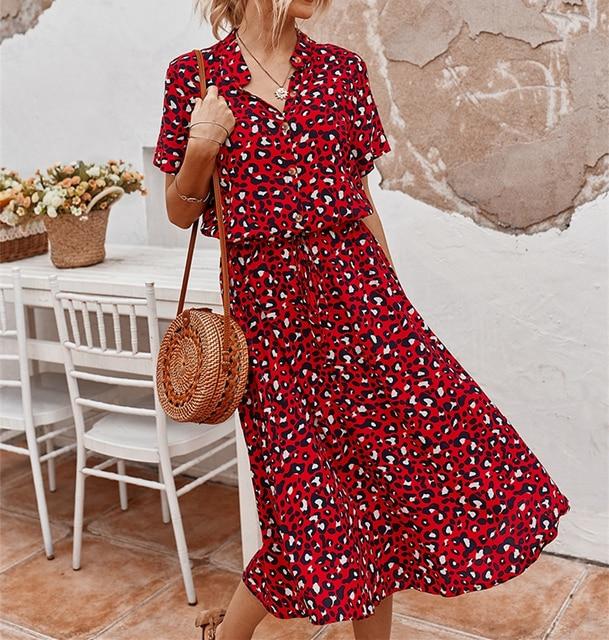 Ladies Bohemian Leopard Print Shirt Dress 1