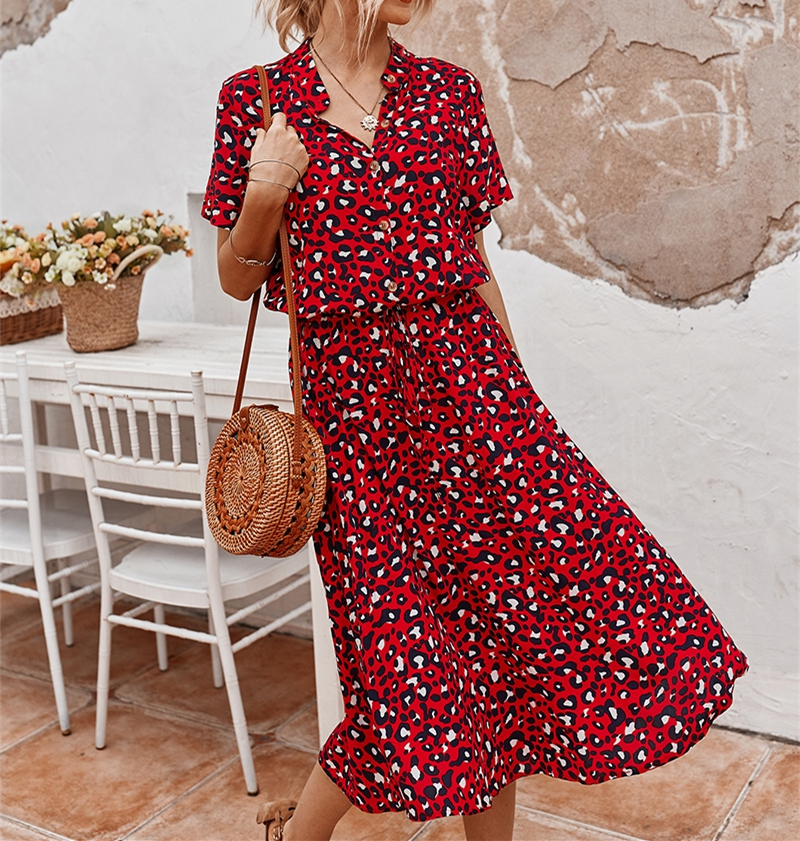 Ladies Bohemian Leopard Print Shirt Dress