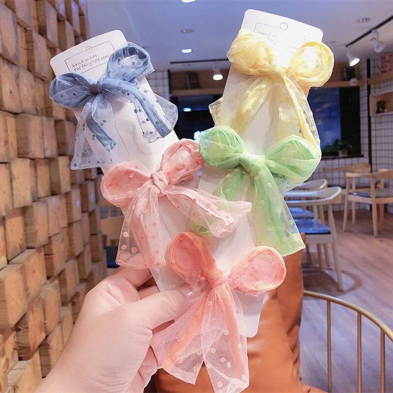 2020 New Spring Korean Simple Cute Colorful Mesh Adjustable Rabbit Ears Duckbill Clip For Sweet Princess Girl Hairpins Headwear