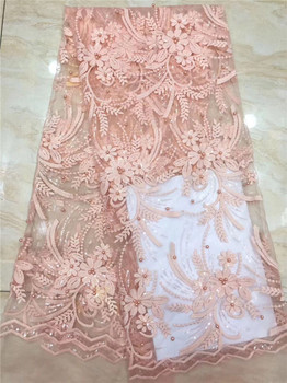 Beautiful peach lady dress material tulle mesh material French net lace fabric with beads for sewing dress PDN652(5yards/lot)
