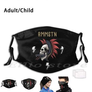 Rmmstn Punk Skull Mask Funny Print Reusable Pm2.5 Filter Face For Fan Rmmstn Deutchland Metal Heavy Metal Heavy Metalhead image