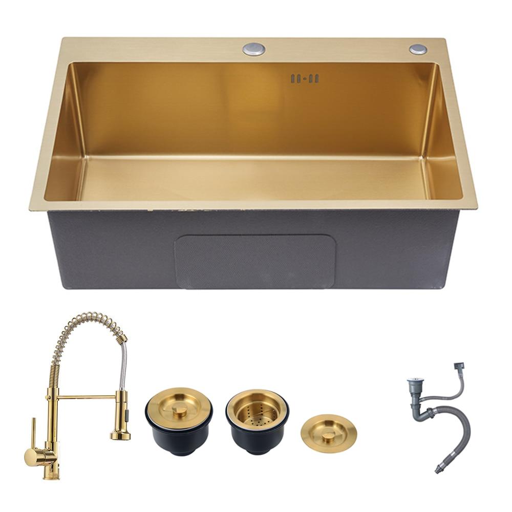 Золотые кухонные раковины над столешницей или раковиной, мойка для овощей, мойка из нержавеющей стали 304, одна чаша 53x43cm