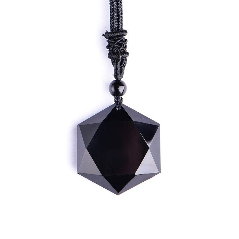 Genuine Natural Black Obsidian Flash Light Pendant Gemstone Hexagram Six Star Carving 41mm 61mm Necklace Drop Shipping AAAAA