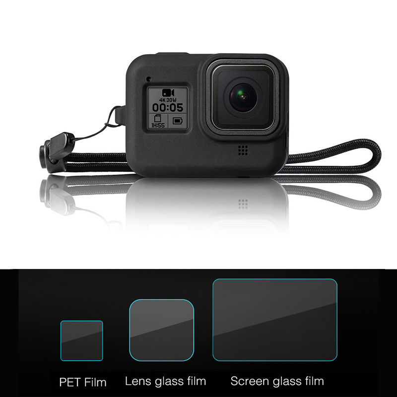 For Gopro Hero 8 kit Silicone Case / Protective films tempered glass film / Wrist straps For Gopro 8 camera accessories