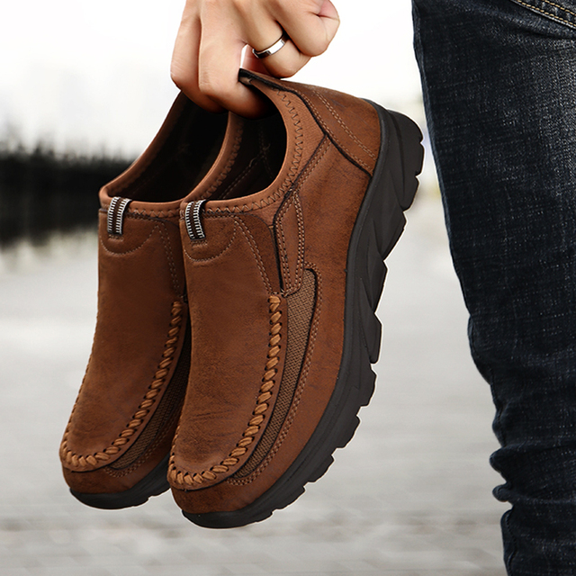 winter split Leather flats Shoes man 2019 Men casual shoes Slip On Loafers Moccasins Driving Shoes male footwear plus 39 48