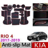 Voiture Gadget Pad pour Kia Rio 4 x-line RIO 2017 2018 2019 accessoires Gel Pad caoutchouc porte fente Tapis tasse Tapis Tapis Voiture