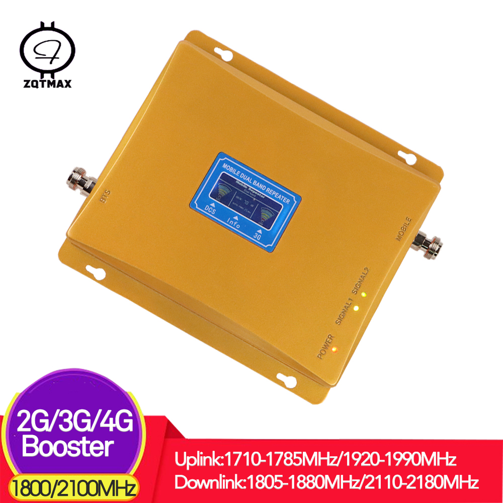 ZQTMAX 2G 3G 4G Cell Phone Signal Booster Dcs Wcdma Dual Band LTE 1800 Cellular Amplifier 2100 Internet Repeater B1 B3