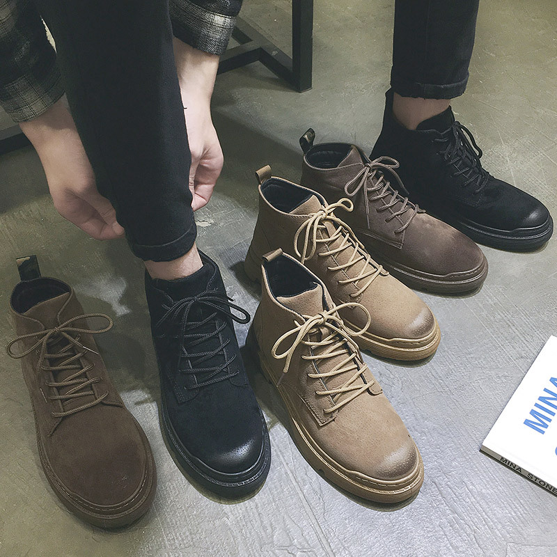 Martin Boots Men's Casual British Short Boots Autumn And Winter Flat Tooling Boots Men's Shoes Warm Shoes Waterproof Non-slip