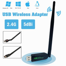 USB Mini Free Drive Wireless Receiver WiFi Network Card 150Mbps with Antenna For Notebook Internet Surfing