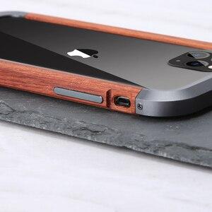 Image 5 - إطار فاخر مقاوم للصدمات من الألومنيوم + الخشب لهاتف أبل آيفون 12 برو ماكس 11 × XS ماكس XR حافظة هاتف صغيرة لحماية السجل المعدني