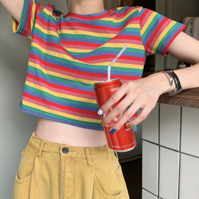 2019 New Summer Women's T Shirt Fashion Casual Style Round Neck Rainbow Striped Tees Short Sleeve T-Shirt Top Slim Women T-Shirt