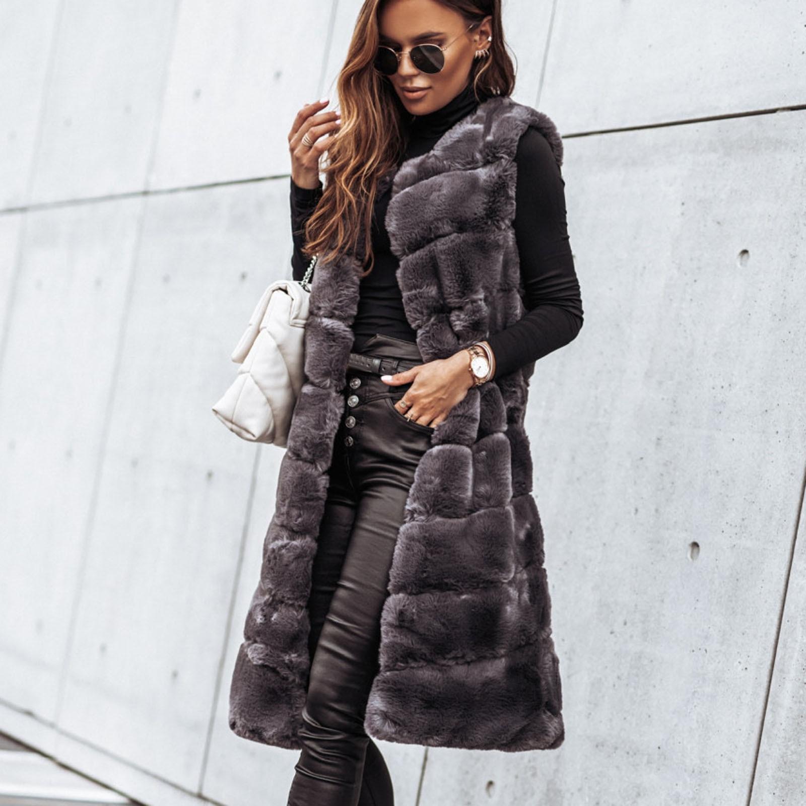 Модные женские куртки 2021, женский модный длинный однотонный теплый меховой жилет с круглым вырезом, куртка из искусственной лисы, теплое Же...