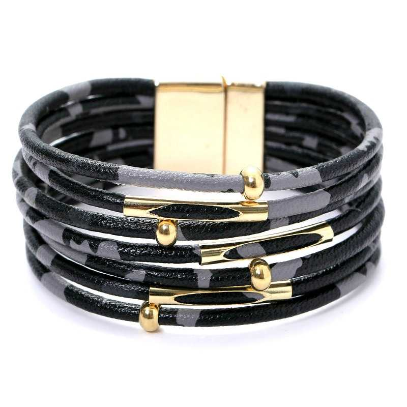 SHUANGR נמר עור צמידים לנשים 2019 אופנה צמידים & צמידי אלגנטי רב שכבתי רחב לעטוף צמיד תכשיטים
