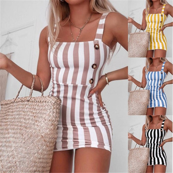 Sexy Women Striped Pencil Dress Summer Backless Design Button Decor OL Dress Sleeveless Slim Package Hip Mini Elegant Dresses button front sleeveless dress