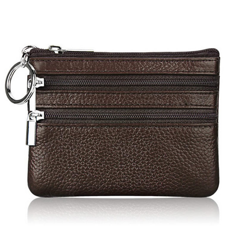 WoMan Man Leather Coin Purse Card Wallet Clutch Double Zipper Small Change Bag
