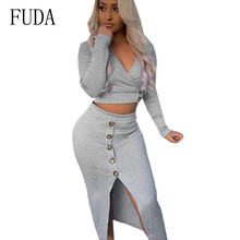 FUDA Ribbed Cotton Sexy Two Pieces Sets Dress V Neck Long Sleeve Bodycon Buttons Autumn Party Dresses Vestidos Robe Femme
