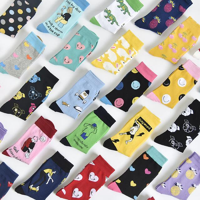 Autumn Fashion Street Harajuku Style Fun Socks Unisex Fancy Fruit Animal Art Man Cotton Socks Cute Happy Woman Long Socks Meias