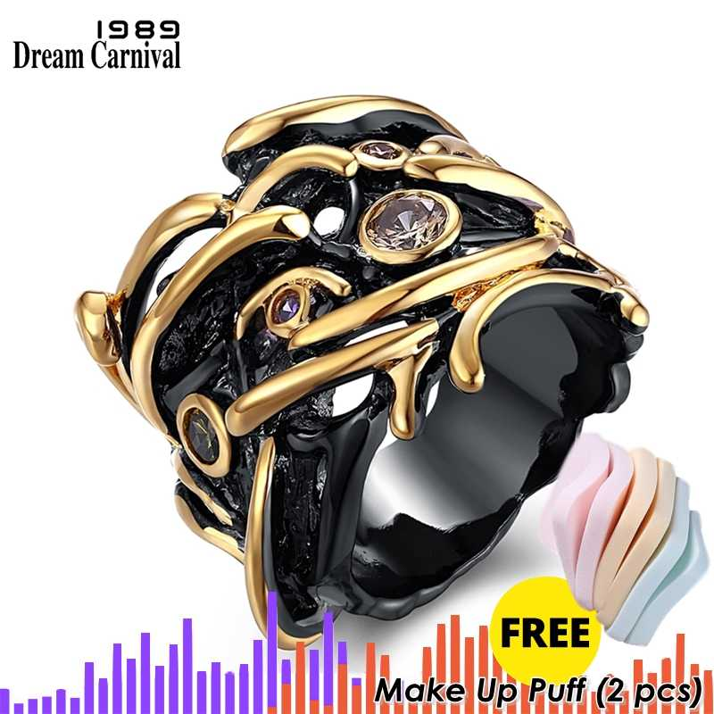 Trendy Hip Hop Ring for Women Teenage Unique Black & Gold Plated Cubic Zirconia Bezel Set Lead Free Street Fashion Movie Jewelry