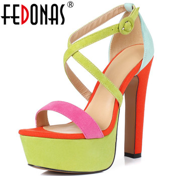 FEDONAS Famale Mixed Colors Platforms Ladies Sandals Genuine Leather New High Heels Pumps Top Quality Party Wedged Shoes Woman