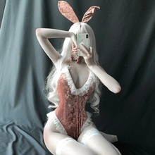 Playful Women Rabbit Bunny Lingerie Halloween Costume Party Sexy Cosplay Erotic Outfit Fancy Bodysuit Jumpsuit Babydoll