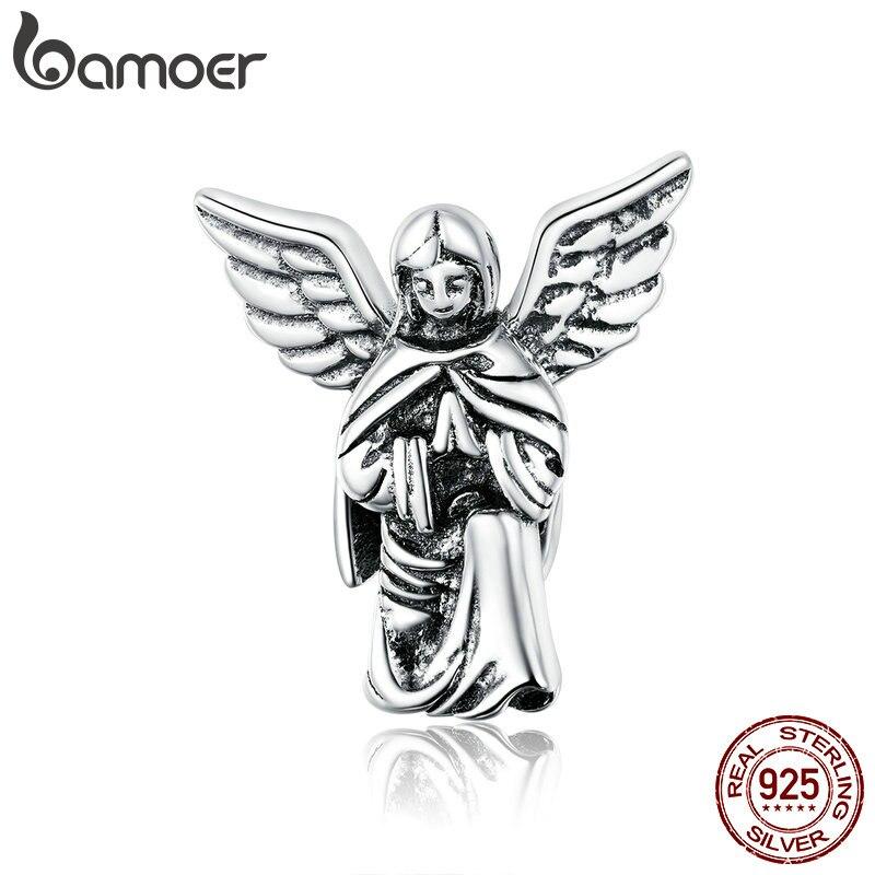 Bamoer desejo anjo genuíno 925 prata esterlina pingente original charme para pulseira ou colar fino jóias diy braceletbsc314