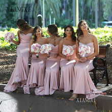 Pink Bridesmaid Dresses Mermaid Dress for Wedding Party Simple robe demoiselle d'honneur Long Bridesmaid Dress(China)