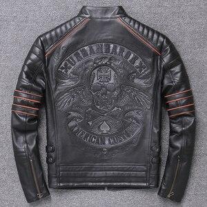 Image 5 - Free shipping.DHL sales New Brand plus size black men skull leather Jackets mens genuine Leather biker jacket.motorbiker coat