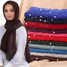 New Pearl Scarf Bubbles Chiffon With Diamond Studs Plain Hijab Shawls Wraps Solid Color Muslim