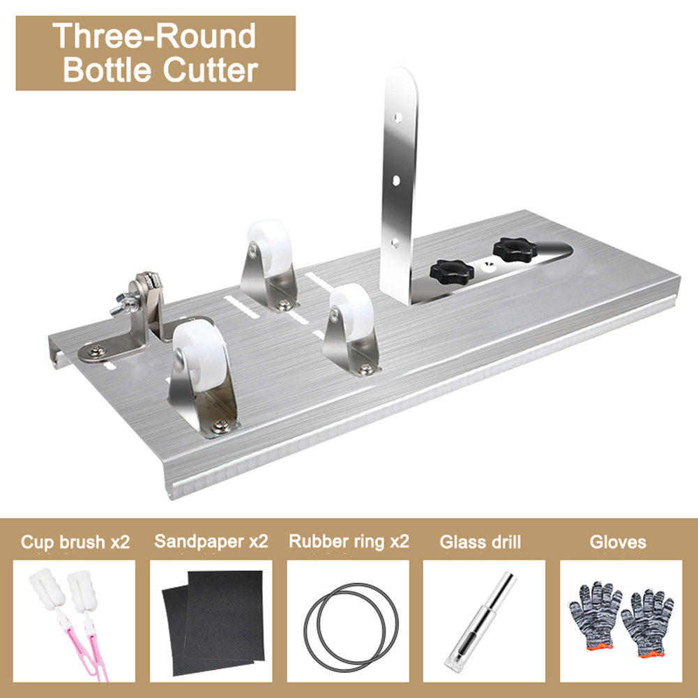1 Set  Cutting Wine Beer Whiskey Glass Bottle Cutter Cutting Machine Alcohol Champagne With Gloves Fixing Rubber Ring