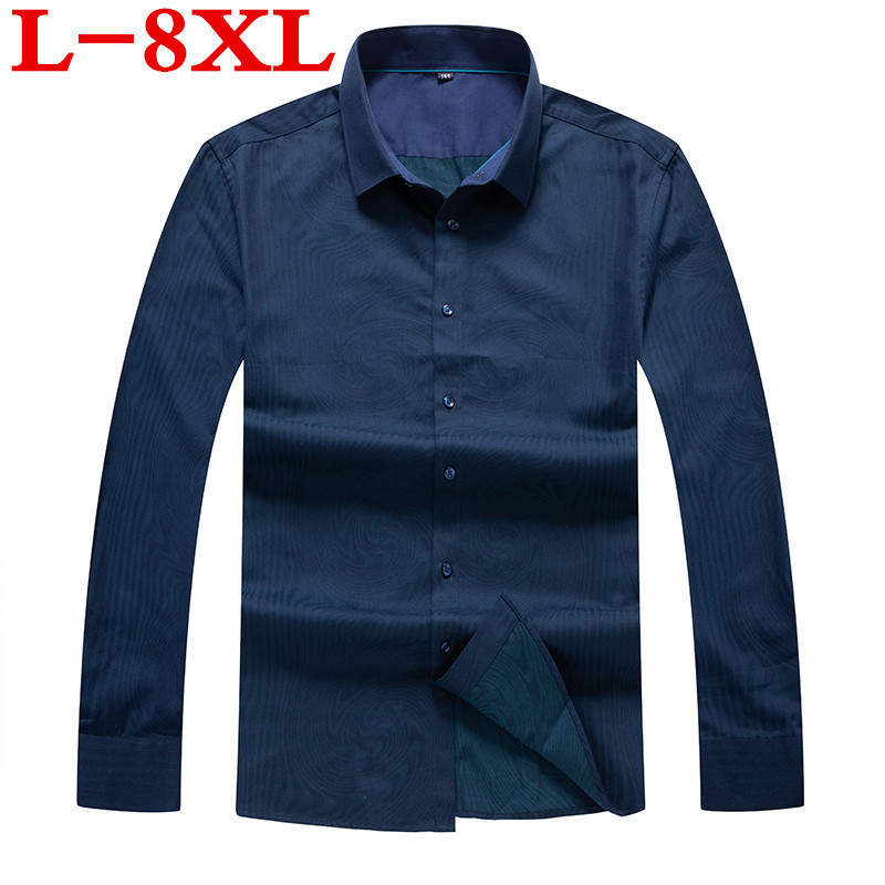 Plus Size 8XL 7XL 6XL Casual Print Men Shirts  Loose Fit Male Social Shirts Brand Long Sleeve Business Shirt Men Clothes Spring