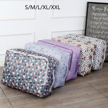 Muti-size Quilt Strong Big Storage Bag Box Clothes Organizer Blanket Pillow Luggage With Handle Breathable Wardrobe Organizer image