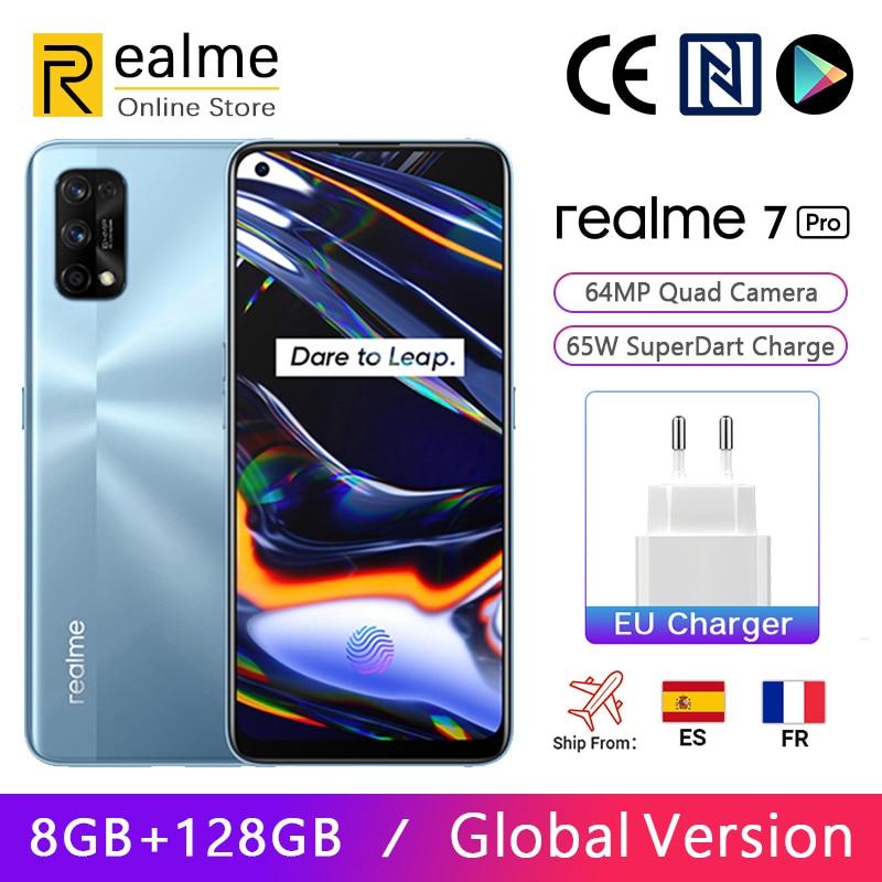 Глобальная версия Realme 7 Pro 8 ГБ 128 ГБ Смартфон Snapdragon 720G 6,4-дюймовый AMOLED-дисплей 64 МП, четыре камеры, 65 Вт, зарядка SuperDart, NFC