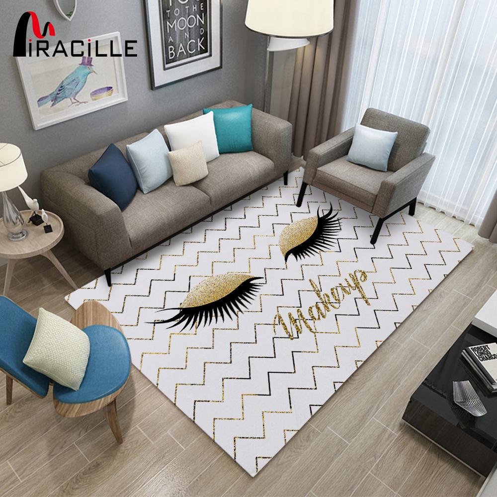 Miracille Gold And Black Eyelash Design Rectangle Area Rugs Children Playing Mat Modern Home Decorative Carpet
