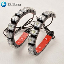 DJsona 1pcs Car Flexible LED Strip Auto Daytime Running Light DRL Driving Light Car Daylight Fog Lamp 12V Signal Lamp White Ice