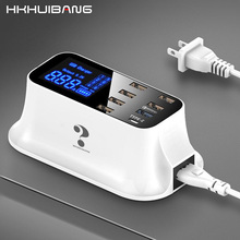 HKHUIBANG Quick Charge 3.0 USB Charger 8 Ports For Samsung Xiaomi Adapter Led Display PD 3.0 40W Phone Tablet Fast Charger